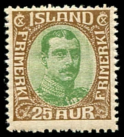 Lot 4232:1920 King Christian X SG #125 25a brown and green.