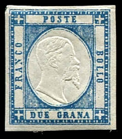 Lot 3825:1861 King Victor Emanuel II SG #10 2Gr blue, four clear margins