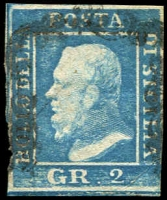 Lot 24749:1859 King Ferdinand II SG #3 2Gr blue 3 margins.