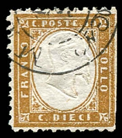 Lot 21058:1862 King Victor Emanuel II SG #1a 10c bistre-brown.