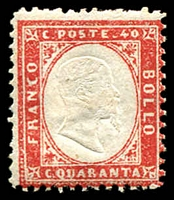 Lot 21059:1862 King Victor Emanuel II SG #3a 40c rose-red.