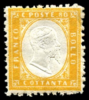 Lot 21060:1862 King Victor Emanuel II SG #4 80c yellow
