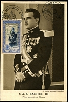 Lot 3941:1950 25f Prince Rainier tied to Maxi Card by FDC 11-4-50.