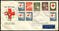 Lot 3964:1953 Red Cross Fund set with few extras tied to illustrated FDC by Gravenhage special cancel 24 AUG 1953.