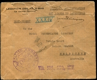 Lot 4197 [1 of 2]:1945 Stampless cover from Delgation Royale Des Pays Das Au Caire to Royal Dutch Delegation Melbourne with British EmbassyCairo handstamp in purple at left and backstamp 4-V111-45 together with fine wax seal from the Delegation Royal, few edge faults but a unusual survivor.