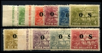 Lot 4037:1925-31 Huts Opt OS: SG #O22-30 set, 2d fine used. (9)