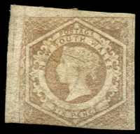 Lot 897:1854-59 Imperf Large Diadems Wmk Double-Lined Numeral SG #96 6d greyish brown, three good margins, part og.