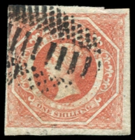 Lot 943:1854-59 Imperf Large Diadems Wmk Double-Lined Numeral SG #127 1/- rosy vermilion, four large margins.