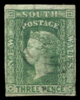 Lot 942:1856-60 Imperf Small Diadems Recess Wmk Double-Lined Numeral SG #115 3d yellow-green, four margins close to good.