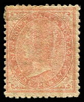 Lot 1184:1863-69 DLR Wmk Single Lined 1 Perf 13 SG #195 1d pale red.