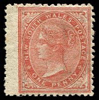 Lot 1185:1863-69 DLR Wmk Single Lined 1 Perf 13 SG #198 1d brick red