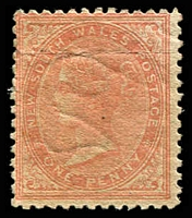 Lot 1183:1863-69 DLR Wmk Single Lined 2 Perf 13 SG #191 1d pale red.