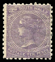 Lot 5024:1867-93 DLR Wmk Single-Lined Numeral SG #206 10d lilac.