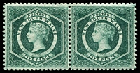 Lot 1191:1882-97 Wmk 2nd Crown/NSW SG #233a 5d blue-green P12, pair. (2)
