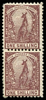 Lot 5582:1888-89 Centenary Wmk 2nd Crown/NSW SG #258 1/- Kangaroo pair with Inverted Wmk. (2)