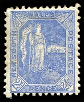 Lot 1197:1890 Allegorical SG #265c 2d ultramarine P12.