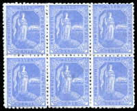 Lot 956:1890 Allegorical SG #265 2½d ultramarine block of 6 Wmk inverted (1 MUH).