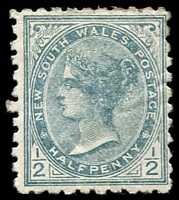 Lot 1072:1892-99 Halfpenny Wmk 2nd Crown/NSW SG #271 ½d grey Perf 10.