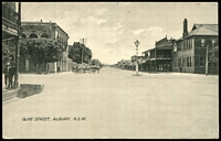 Lot 987 [1 of 2]:Albury (2): Black& white PPC 'Olive Street, Albury, NSW' nice card, used Port Adelaide in 1913.  PO 1/2/1847.