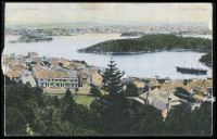 Lot 1229:Balmain: - Multi-coloured PPC showing elevated view of Balmain, Waterview Bay and Lane Cove Bridge, unused.  PO 1/1/1850.