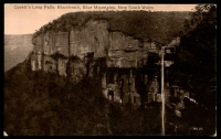 Lot 1301:Blackheath (2): - Black & white PPC 'Govett's Leap Falls, Blackheath, Blue Mountains, New South Wales', real photo, unused.  RO 16/7/1880; PO 1/2/1883.