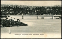 Lot 1242:Drummoyne: - Black & white PPC 'Drummoyne Bridge and Searl Monument, Sydney' (sic).  PO 1/9/1884.
