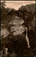 Lot 1367:Katoomba: - Black & white PPC 'Minne-ha-ha Falls, Katoomba, Blue Mountains, NSW', real photo, unused.  RO 1/2/1879; PO 16/8/1880.