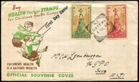 Lot 4193:1945 Health Peter Pan set tied to illustrated FDC by Gate Pa squared circle cancel 1 OC 45.