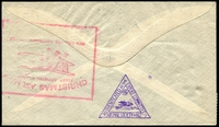 Lot 4201 [2 of 2]:1931 New Zealand - London cover to London with 4d Air x 2, 7d Air and KGV 2d tied by Christchurch cds 11 NO 31 with boxed Christmas Air Mail cachet in red on reverse and triangle Authenticated by Airmail Society of NZ handstamp in violet.