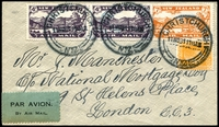 Lot 4201 [1 of 2]:1931 New Zealand - London cover to London with 4d Air x 2, 7d Air and KGV 2d tied by Christchurch cds 11 NO 31 with boxed Christmas Air Mail cachet in red on reverse and triangle Authenticated by Airmail Society of NZ handstamp in violet.