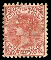 Lot 3963:1882-1900 Second Sidefaces Inscribed Postage & Revenue SG #203 1/- red-brown.