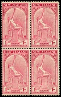 Lot 4445:1932 Health SG #552 1d+1d Hygeia block of 4.