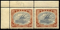 Lot 4301:1918-31 Printed in Two Colours SG #95d 1½d pale grey blue & brown marginal pair from top of sheet with left hand unit showing POSTACE.