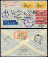 Lot 4332:1937 Manila - Hong Kong cover with Philippine adhesives tied by Manila 28 APR 1937 cancels with first flight cachet in violet at left and Tax T 20 in circle at far left, backstamped Hong Kong 28 AP 37 and with Netherlands Indies Postage Dues tied by Batavia 9-5-37 cancel, nice cover.
