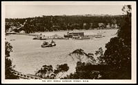 Lot 64:Australia - New South Wales: Black & white PPC 'The Spit, Middle Harbour, Sydney' real photo showing Car Ferry crossing mid stream.