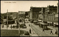 Lot 65:Australia - New South Wales: Black & white PPC 'Circular Quay, Sydney', nice card showing a line of trams.
