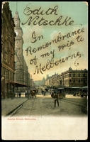 Lot 358:Australia - Victoria: Multicoloured PPC 'Bourke Street, Melbourne' with tram in foreground.