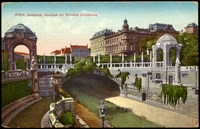 Lot 50:Austria: Multicoloured PPC 'Vienna City Park, end of Vienna River and entrance to Arch'.