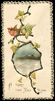 Lot 100:New Year Greeting: Ornate card with silk seascape scene 'A Happy New Year to you' with date 27 Dec 1896 on reverse, very early card.