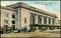 Lot 652:USA: Multicoloured PPC 'Entrance to Southern Pacific Depot Los Angeles, Cal.'.