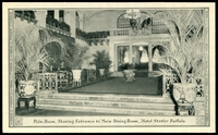 Lot 100:United States of America: Black & white PPC 'Palm Room, showing entrance to main dining room, Hotel Statler Buffalo'.