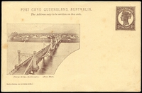 Lot 1413:1898 QV Sideface Views With 2 Line Heading HG #10 1d chocolate on buff with scene 'Fitzroy Bridge Rockhampton'.