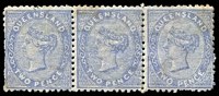 Lot 1395:1879-80 Sideface Wmk 2nd Crown/Q SG #139 2d bright blue strip of 3 with right hand unit being Die II.