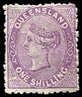 Lot 1396:1879-80 Sideface Wmk 2nd Crown/Q SG #145 1/- pale lilac.