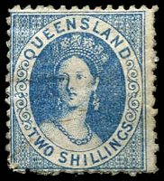 Lot 1390:1880 Small Chalon Litho Wmk 2nd Crown/Q Perf 12 SG #119 2/- blue.