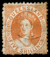 Lot 1394:1880 Small Chalon Litho Wmk 2nd Crown/Q Perf 12 SG #123 5/- pale yellow-ochre.