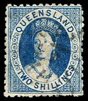 Lot 1298:1880 Small Chalon Litho Wmk 2nd Crown/Q Perf 12 SG #120 2/- deep blue.