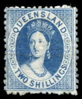Lot 1634:1880 Small Chalon Litho Wmk 2nd Crown/Q Perf 12 SG #119 2/- blue.