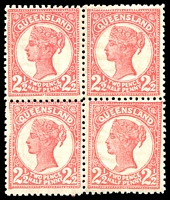 Lot 1305:1895-96 Void-Oval Wmk 2nd Crown/Q Perf 12½,13 SG #214 2½d rose block of 4. (4)