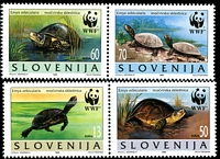 Lot 4426 [1 of 5]:1996 European Pond Tortoise SG #279-82 set **, plus set tied to illustrated FDCs, unaddressed.